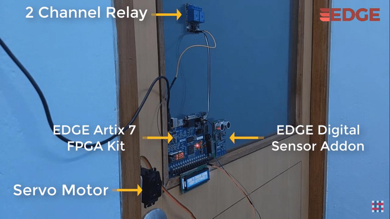 Social distancing with Gesture based door/light control using Edge Artix 7 FPGA board